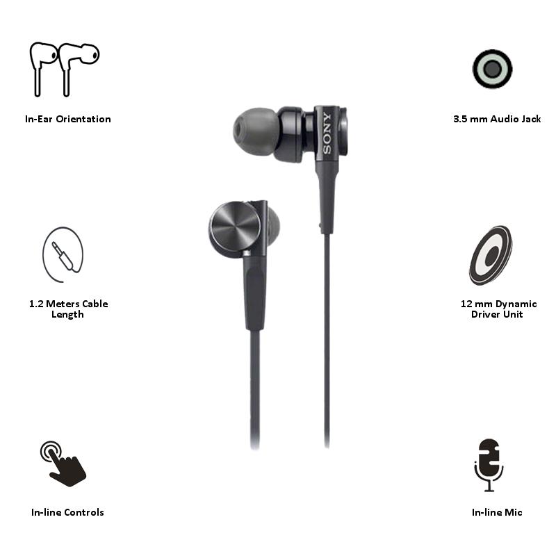 Sony In-Ear Wired Earphones with Mic (MDR-XB75AP, Black)_3