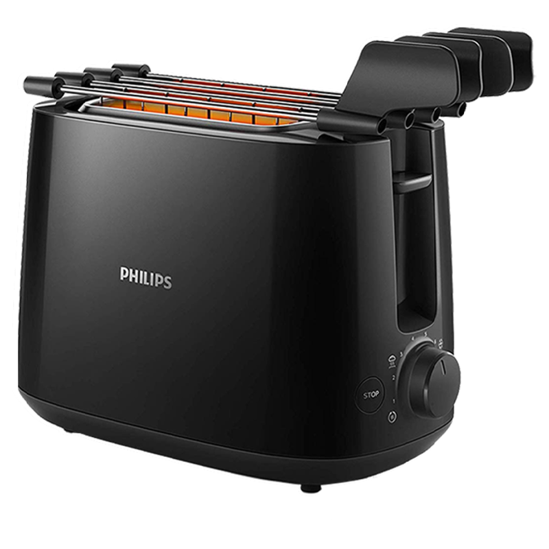 Philips Daily Collection 600 Watts 2-Slice Toaster (Integrated Bun Rack, HD2583/90, Black)