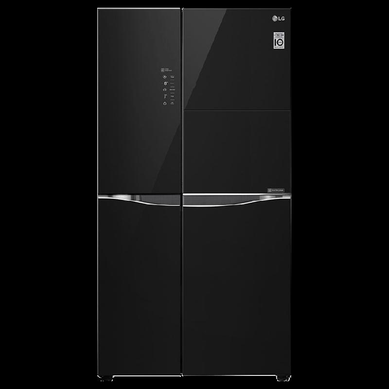 LG 675 Litres Frost Free Inverter Side-by-Side Door Refrigerator (Multi Air Flow, GC-C247UGBM.ABMQEB, Black Mirror)_1