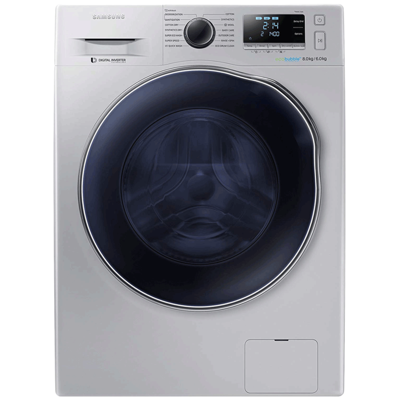 Samsung 8 kg/6 kg Fully Automatic Front Load Washer Dryer Combo (Eco-Bubble, WD80J6410AS, Silver)_1