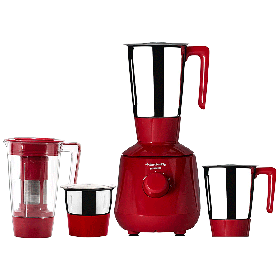 Butterfly 750 Watt Mixer Grinder (Lightening, Red)