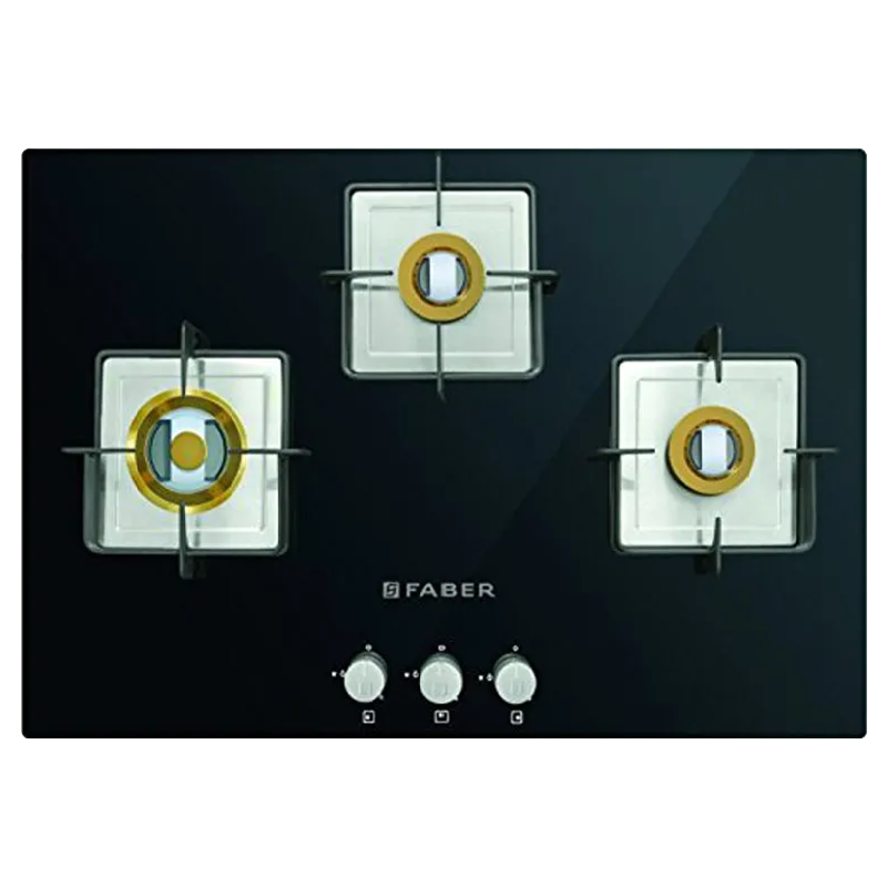 Faber 3 Burner Toughened Glass Built-in Gas Hob (Square CI Finish, HTG 753 CRS BR CI, Black)