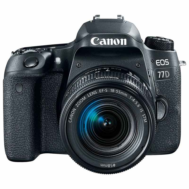 Canon 24.2 MP DSLR Camera Body with 18 - 55 mm Lens (EOS 77D, Black)_1