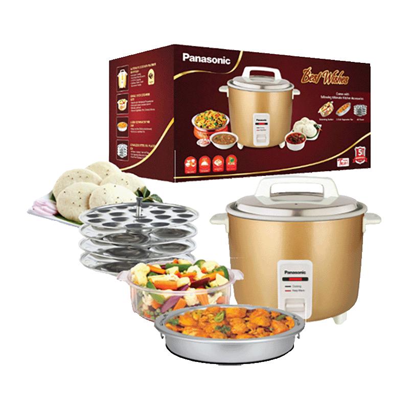 Gift – Panasonic 1.8 Litres 660 Watt Rice Cooker (SR-W18GH (CMB), Metallic Gold)