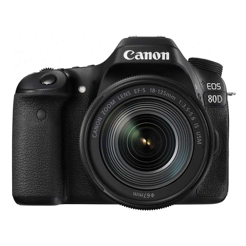 Canon 24.2 MP DSLR Camera Body with 18 - 135 mm Lens (EOS 80D, Black)_1