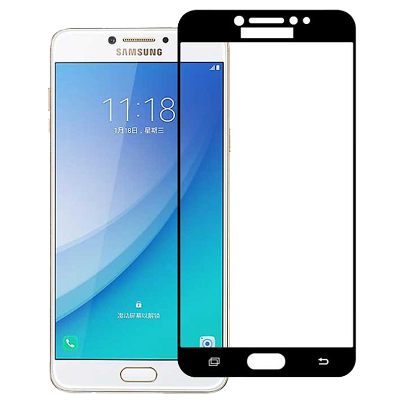 Stuffcool Mighty 2.5D Tempered Glass Screen Protector for Samsung Galaxy C7 Pro (Black)_1