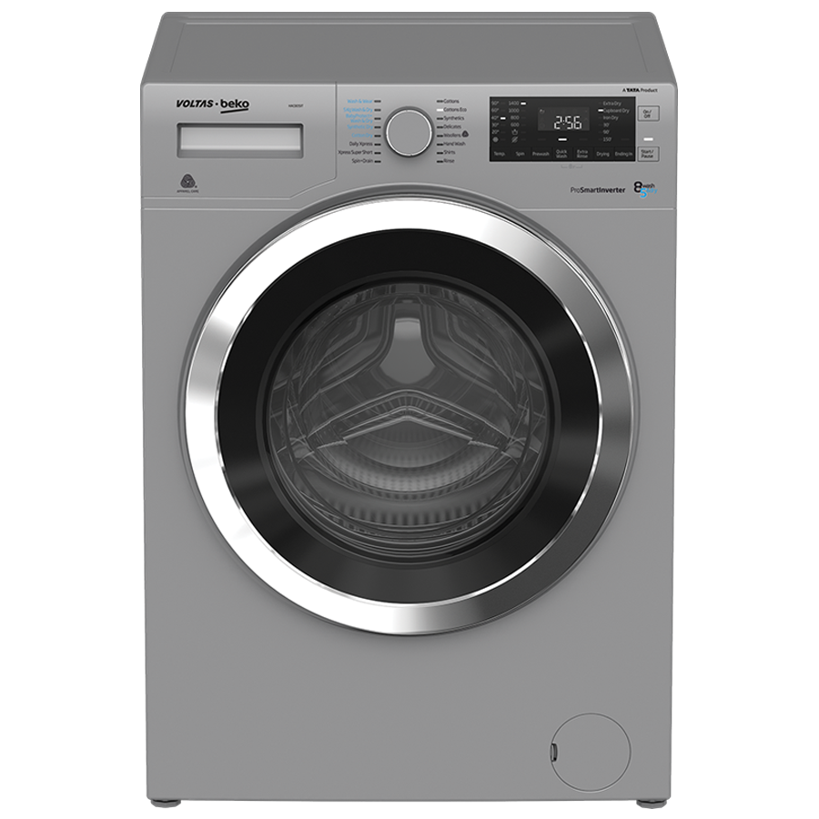 Voltas Beko 8/5 kg Fully Automatic Front Loading Washer Dryer (WWD80S, Silver)_1