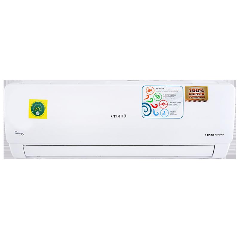 Croma 1 Ton 5 Star Inverter Split AC (Copper Condenser, CRAC7884, White)_1