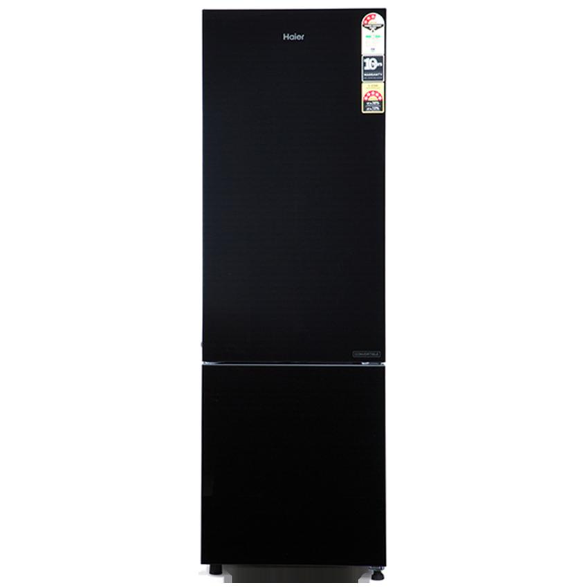 Haier 256 L 3 Star Frost Free Double Door Bottom Mount Refrigerator (HRB-2763CKG-E, Black Glass)_1