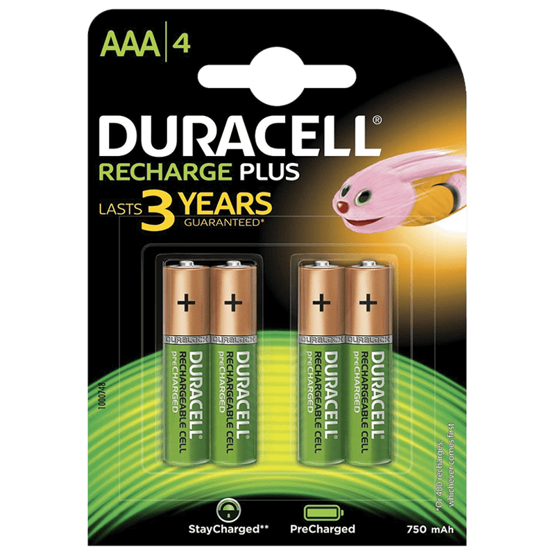 Duracell 750 mAh AAA Rechargeable Batteries (DU Rec AAA750 4BL, Green) (Pack of 4)_1