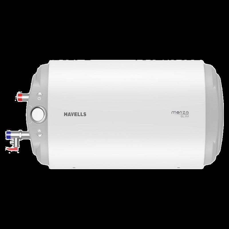 Havells Monza Slim 10 Litres Horizontal Storage Water Geyser (GHWBMDSWH010, White)_1