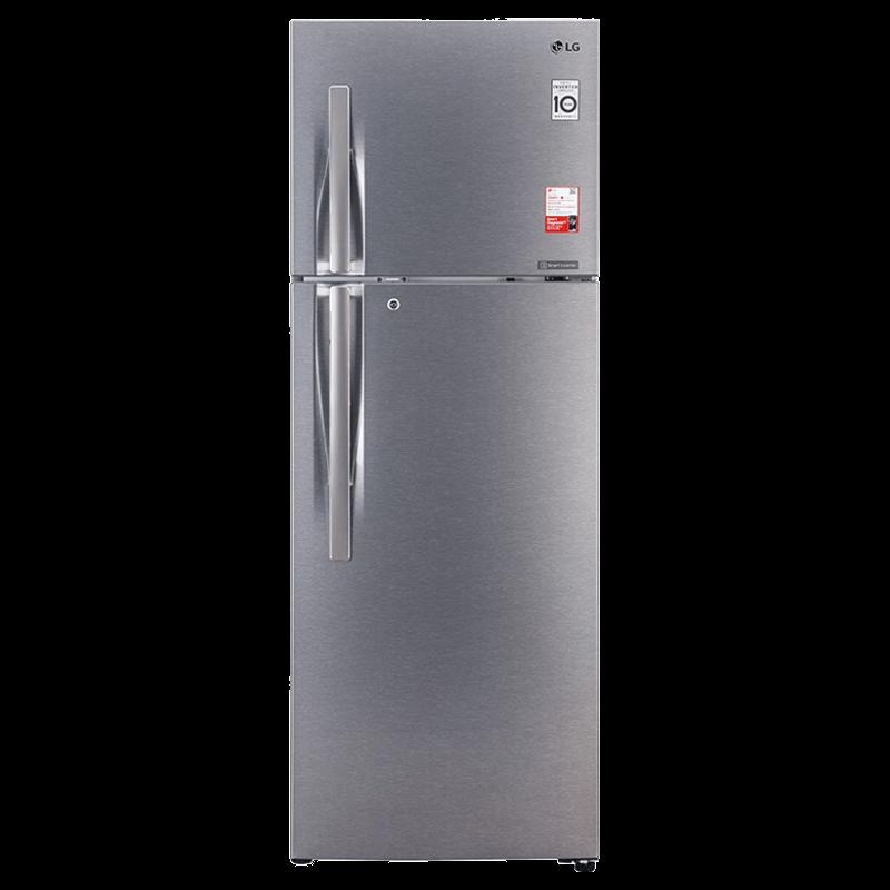 LG 360 Litres 2 Star Frost Free Inverter Double Door Refrigerator (Convertible Plus, GL-T402JDSY.EDSZEBN, Dazzle Steel)_1