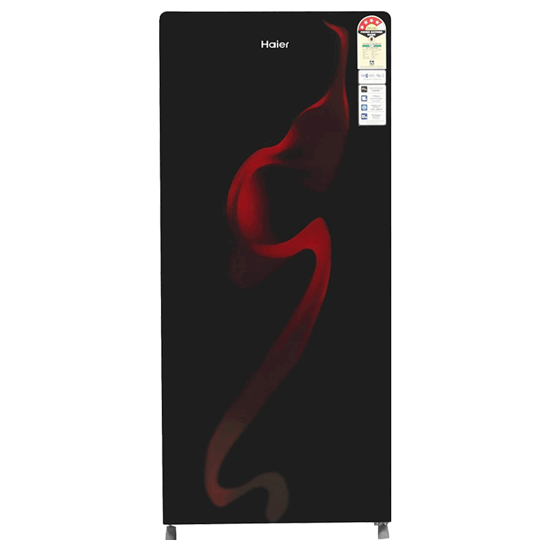 Haier 195 Litres 4 Star Direct Cool Single Door Refrigerator (Stabilizer Free Operation, HRD-1954CSG-E, Black Spiral Glass)_1
