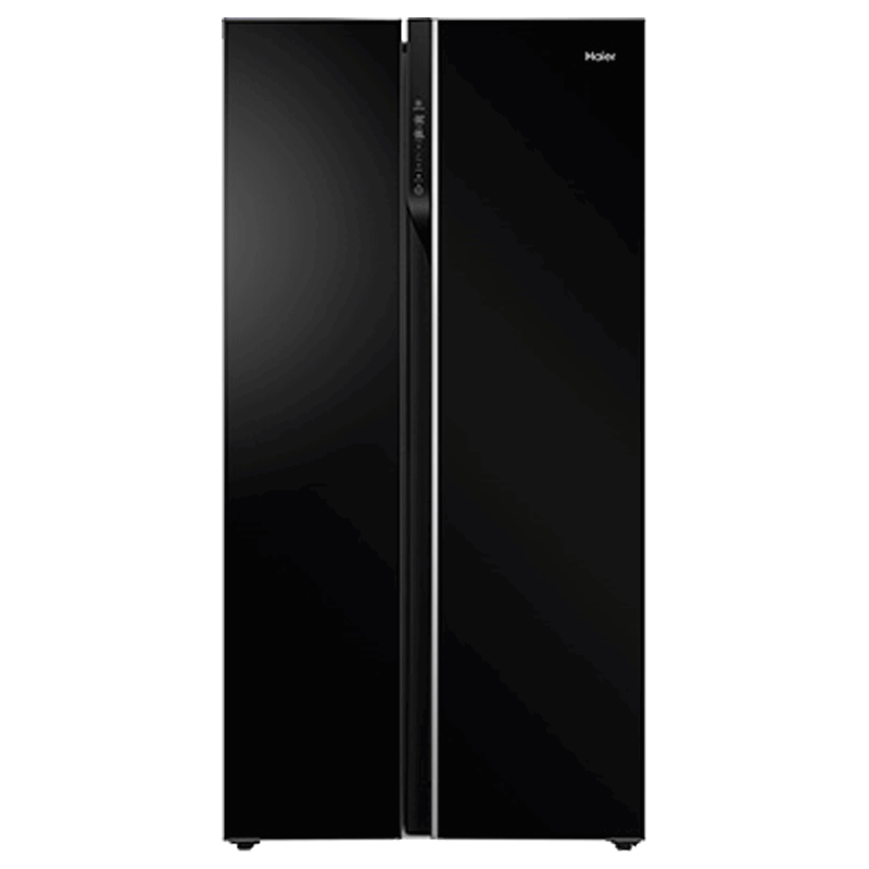 Haier 570 Litres Frost Free Inverter Side-by-Side Door Refrigerator (Digital Control Panel, HRF622KG, Black Glass)_1
