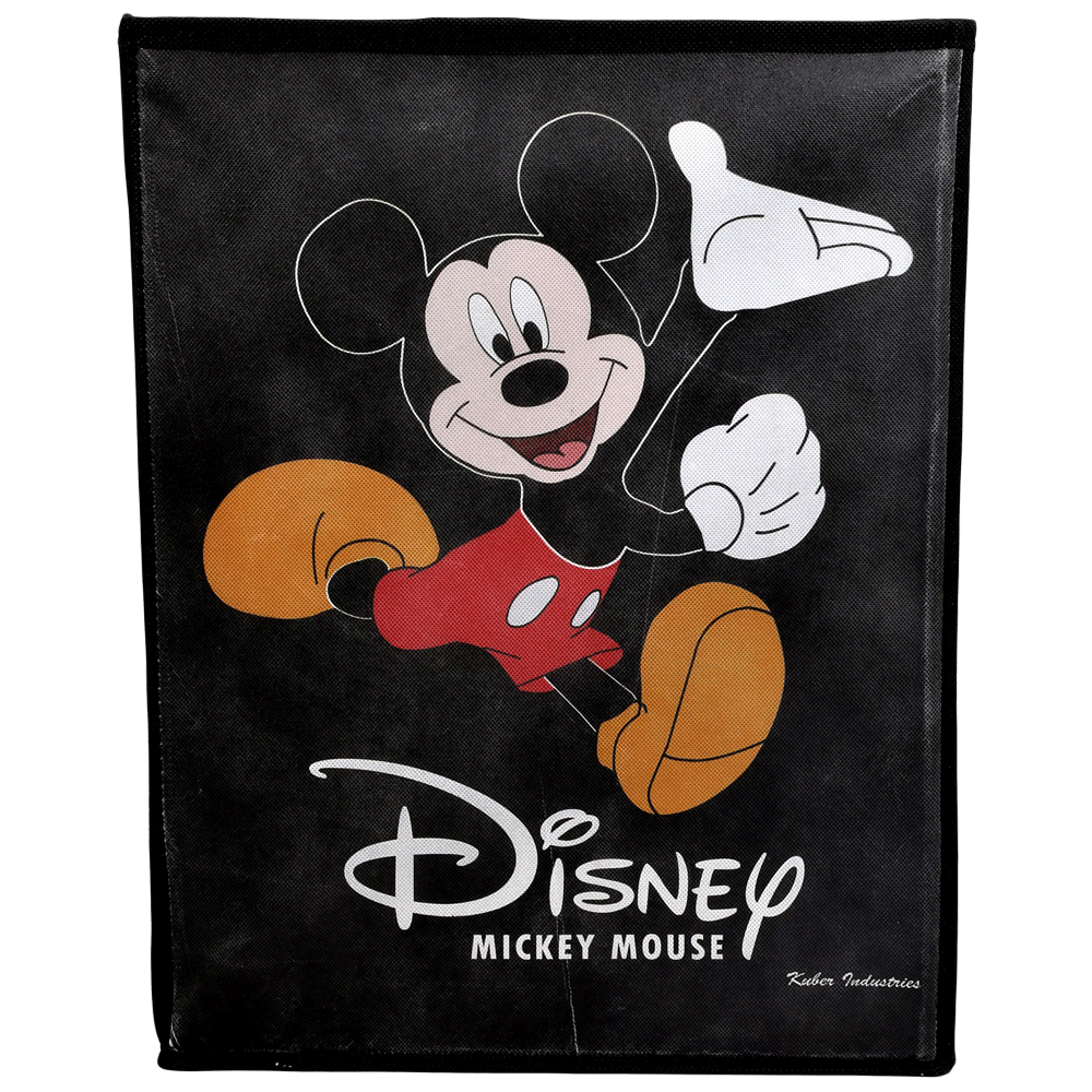 Kuber Industries Disney Mickey Mouse Non Woven Fabric Laundry Basket (Foldable Hamper, KUBMART1190, Black)_1