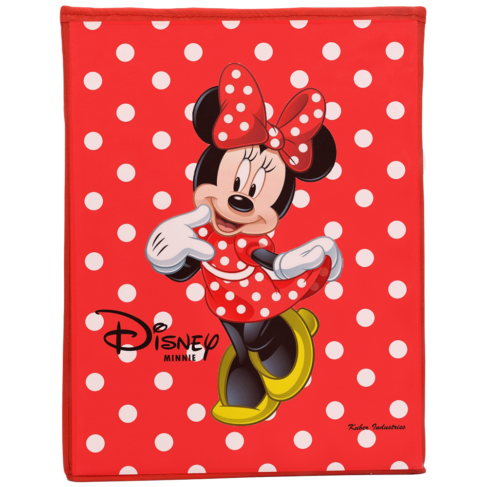 Kuber Industries Disney Minnie Non Woven Fabric Laundry Basket (Foldable Hamper with Lid, KUBMART1216, Red)_1
