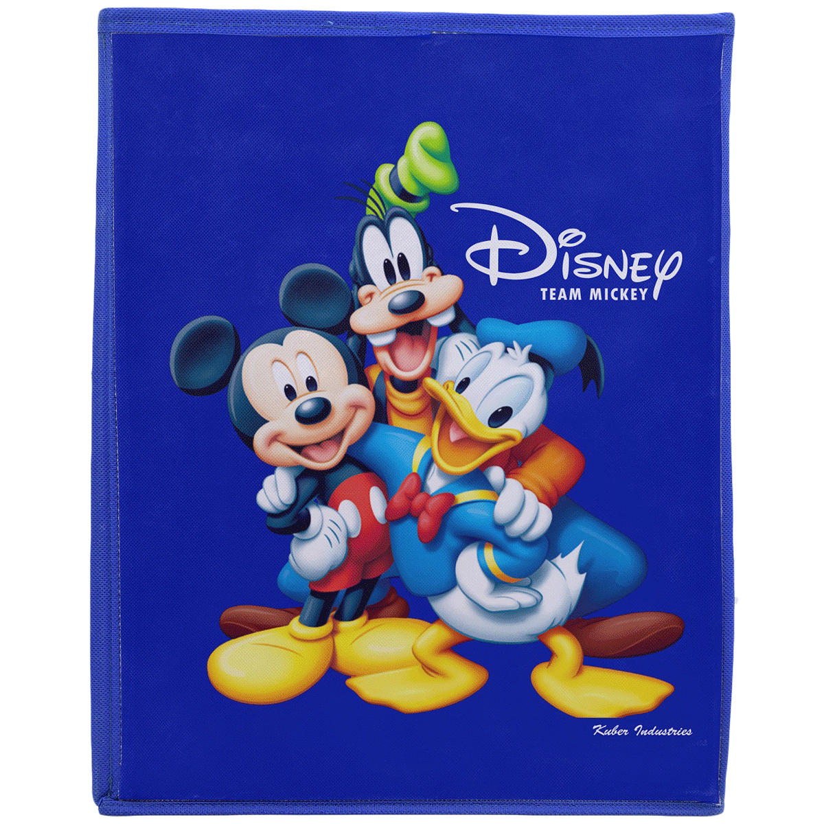 Kuber Industries Disney Team Mickey Non Woven Fabric Laundry Basket (Foldable Hamper with Lid, KUBMART1212, Royal Blue)_1