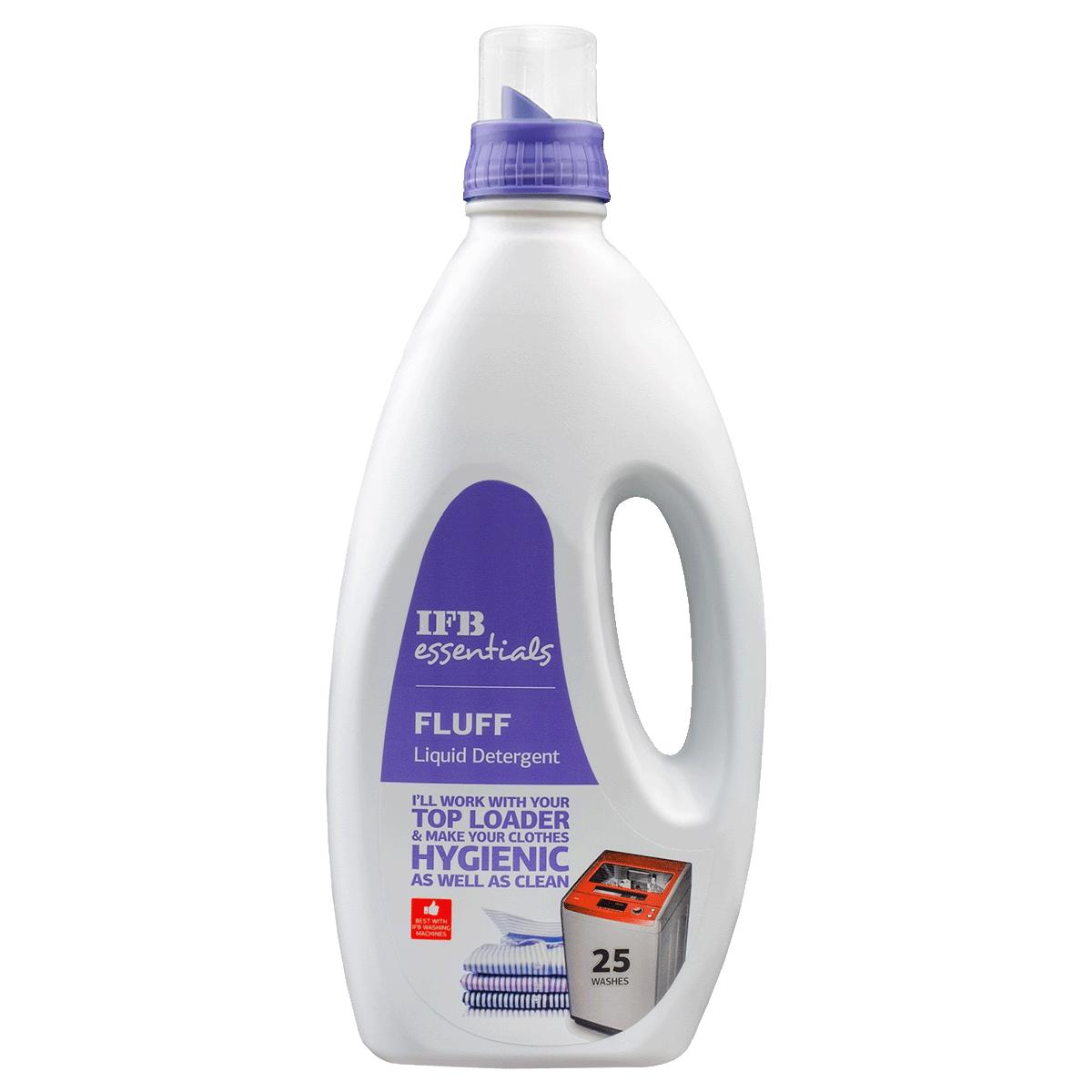 IFB Essentials Fluff Liquid Detergent for Top Load Washing Machines (1 Litre, Fluff Liquid Deter, White)_1
