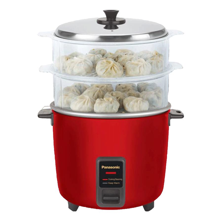Panasonic Warmer 1.8 Litres Electric Rice Cooker (Automatic Cooking, SR-WA18H (SS), Metallic Burgundy)
