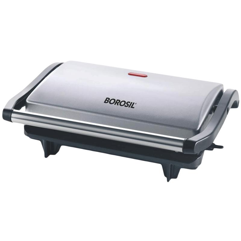 Buy Borosil Prime 700 Watts 2 Slice Automatic Grill Sandwich Maker Automatic Temperature Control Bgrillps11 Silver Online Croma