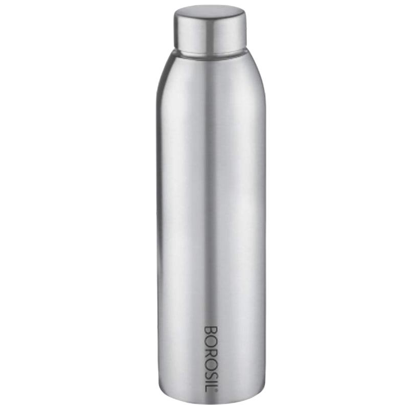 Borosil Easy Sip Water Bottle for Fridge (Leak Proof, BSW750SS11, Steel)_1