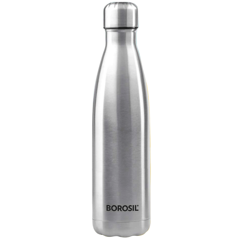 Borosil Hydra Bolt Water Bottle for Microwave, Refrigerator, Dishwasher (Single Wall, BSW1000SS21, Steel)_1