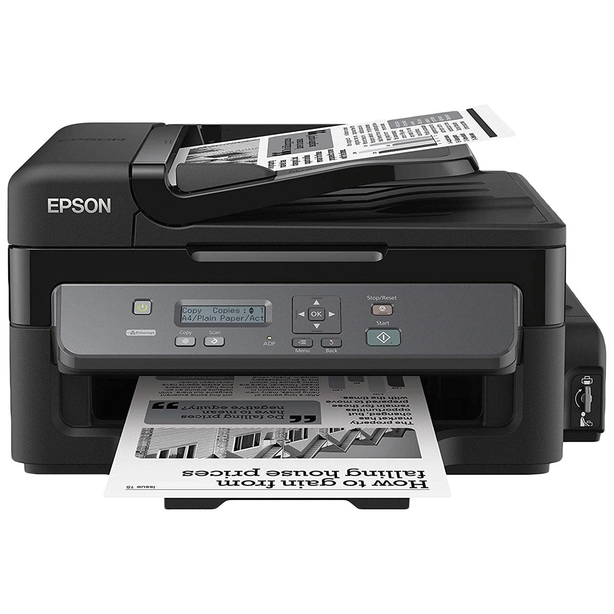 Epson EcoTank Wireless Black & White Multi-Function Inkjet Printer (Mobile Printing, M205, Black)_1