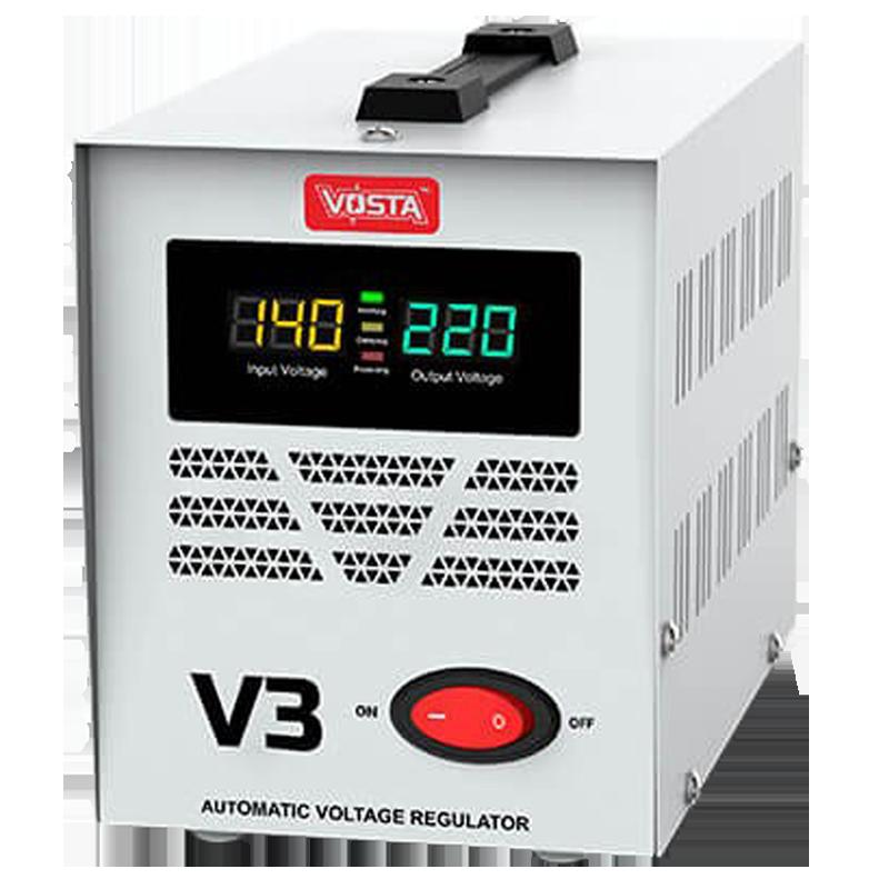 PowerMax Vosta V3 Voltage Stabilizer Up To 5.0 HP AC/DC Motor (140 - 260 Volt Input & 220 Volt Output, Zero Cross Switching Technology, White)_1