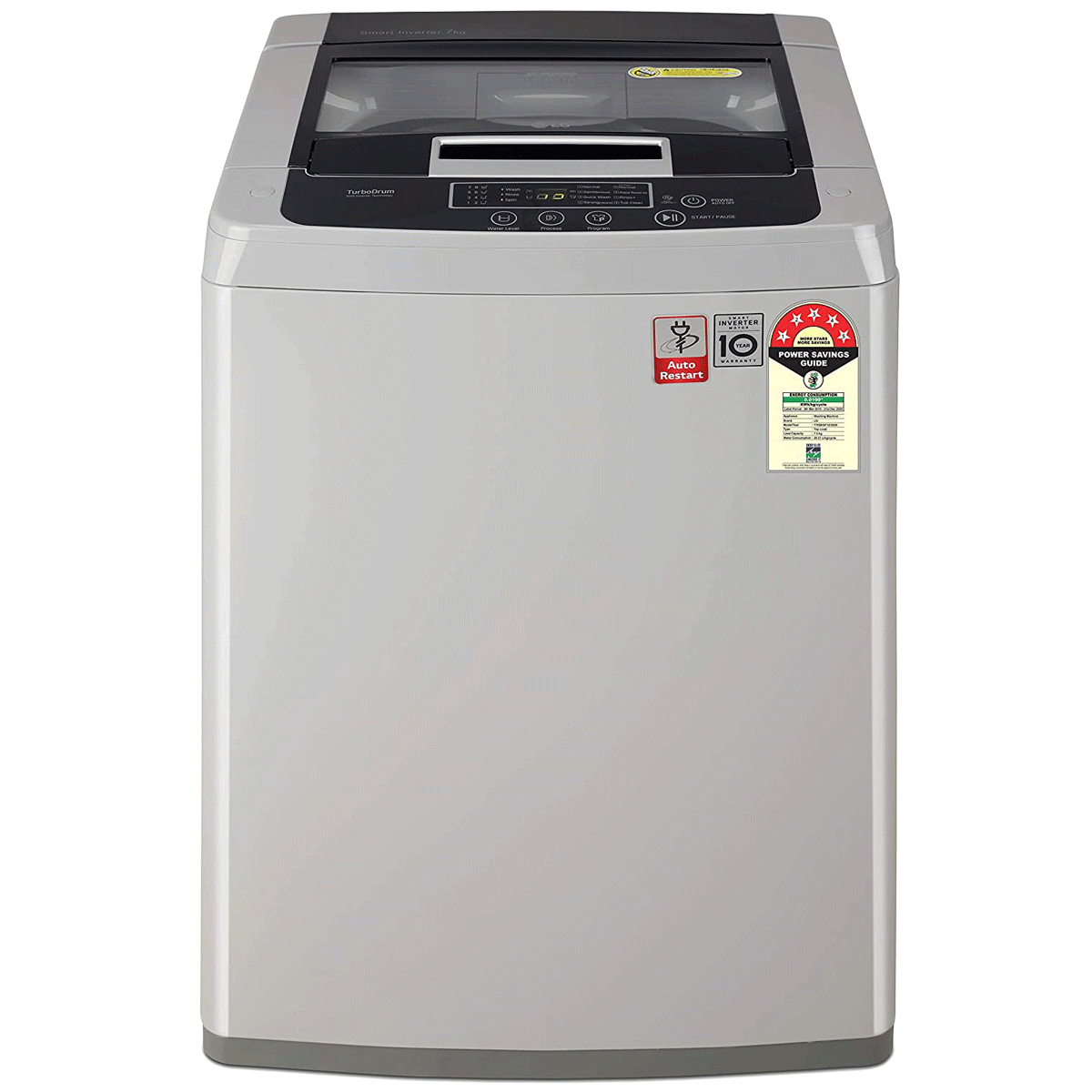 LG 7 kg 5 Star Fully Automatic Top Load Washing Machine (Smart Inverter Technology, T70SKSF1Z, Middle Free Silver)_1