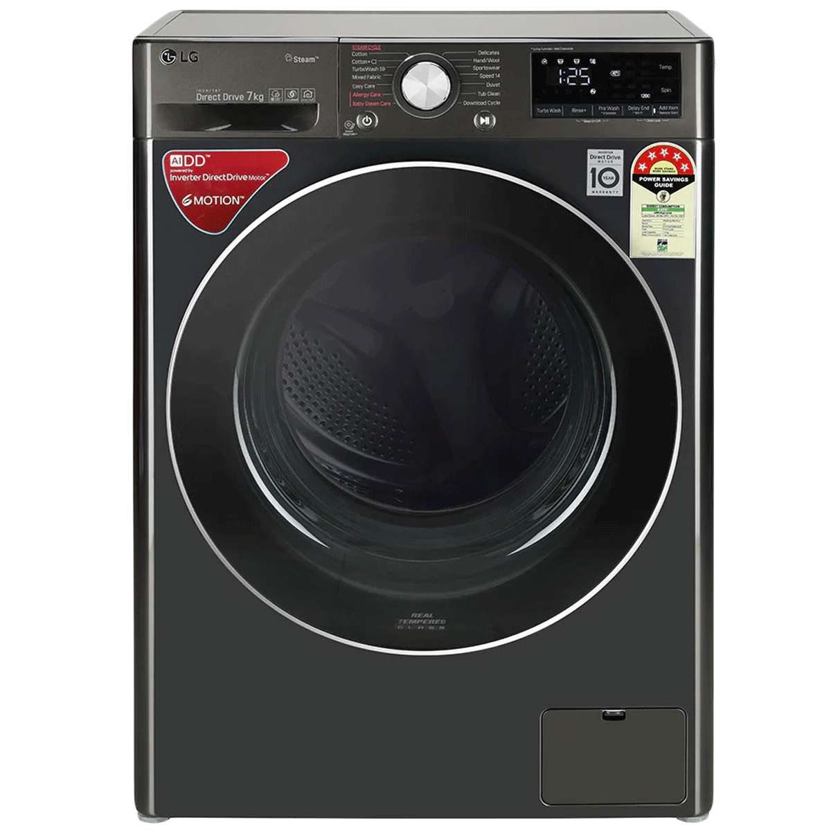 LG 7 kg 5 Star Fully Automatic Front Load Washing Machine (AI Direct Drive Technology, FHV1207ZWB, Black Steel)