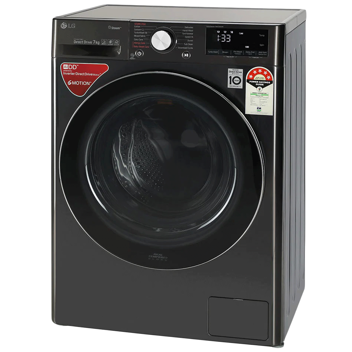 LG 7 kg 5 Star Fully Automatic Front Load Washing Machine (AI Direct Drive Technology, FHV1207ZWB, Black Steel) 3
