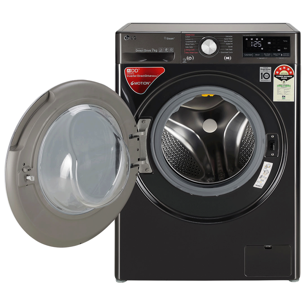 LG 7 kg 5 Star Fully Automatic Front Load Washing Machine (AI Direct Drive Technology, FHV1207ZWB, Black Steel) 8