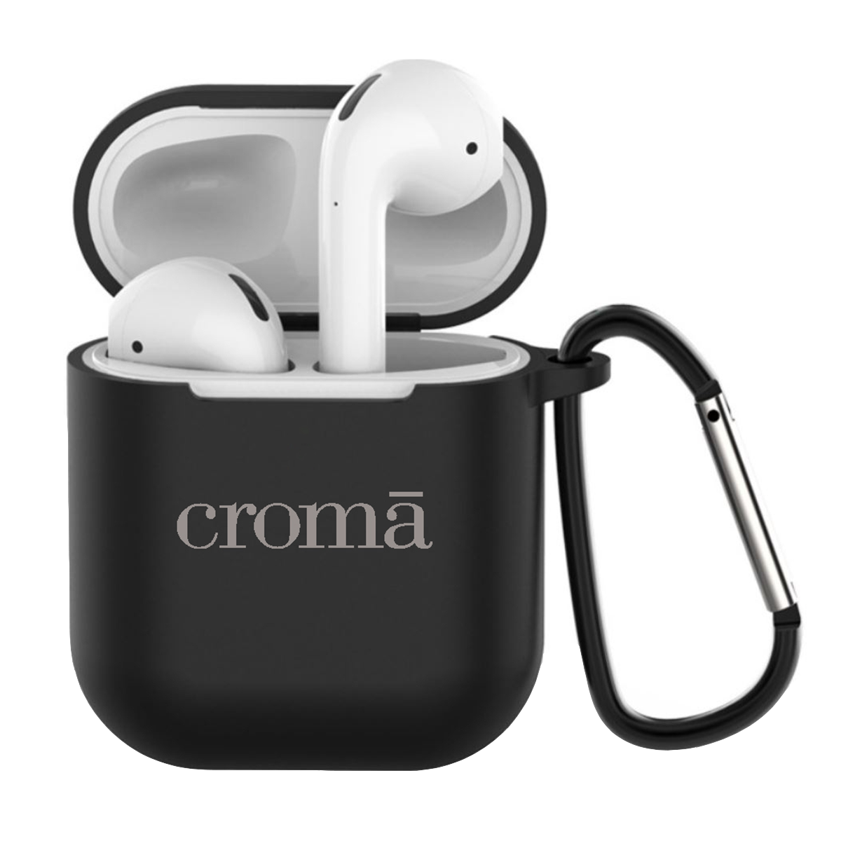 Croma Full Cover Case for Apple AirPods (CRCA0082, Black)_1
