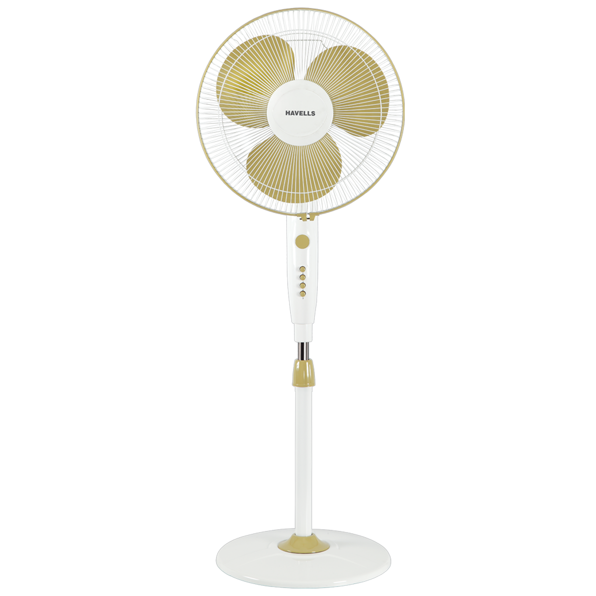 Havells Trendy 40cm Sweep 3 Blade Pedestal Fan (Double Ball Bearing, FHSTRNSGOW16, Golden White)_1