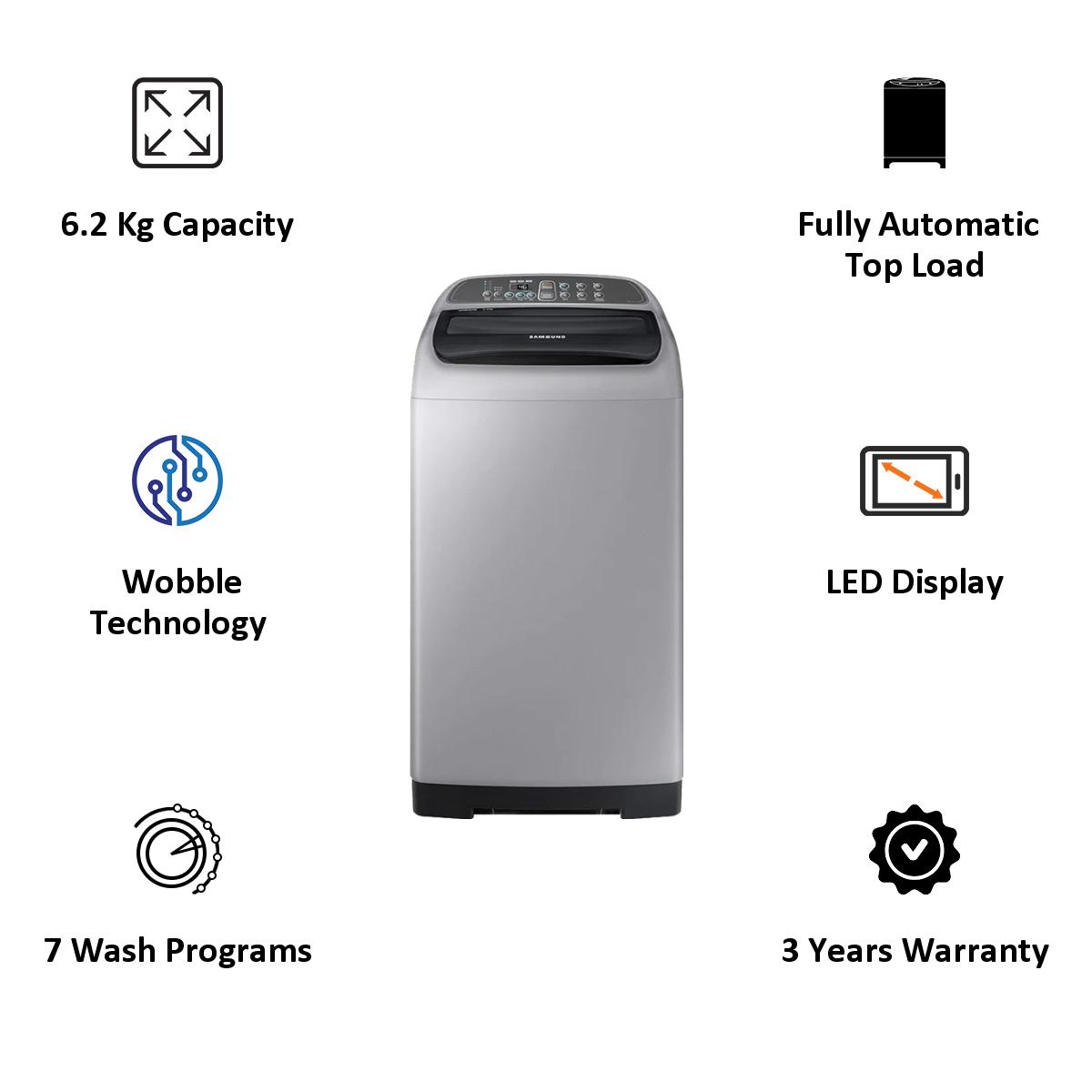 Samsung 6.2 kg Fully Automatic Top Loading Washing Machine (WA62M4200HA/TL, Silver) 5