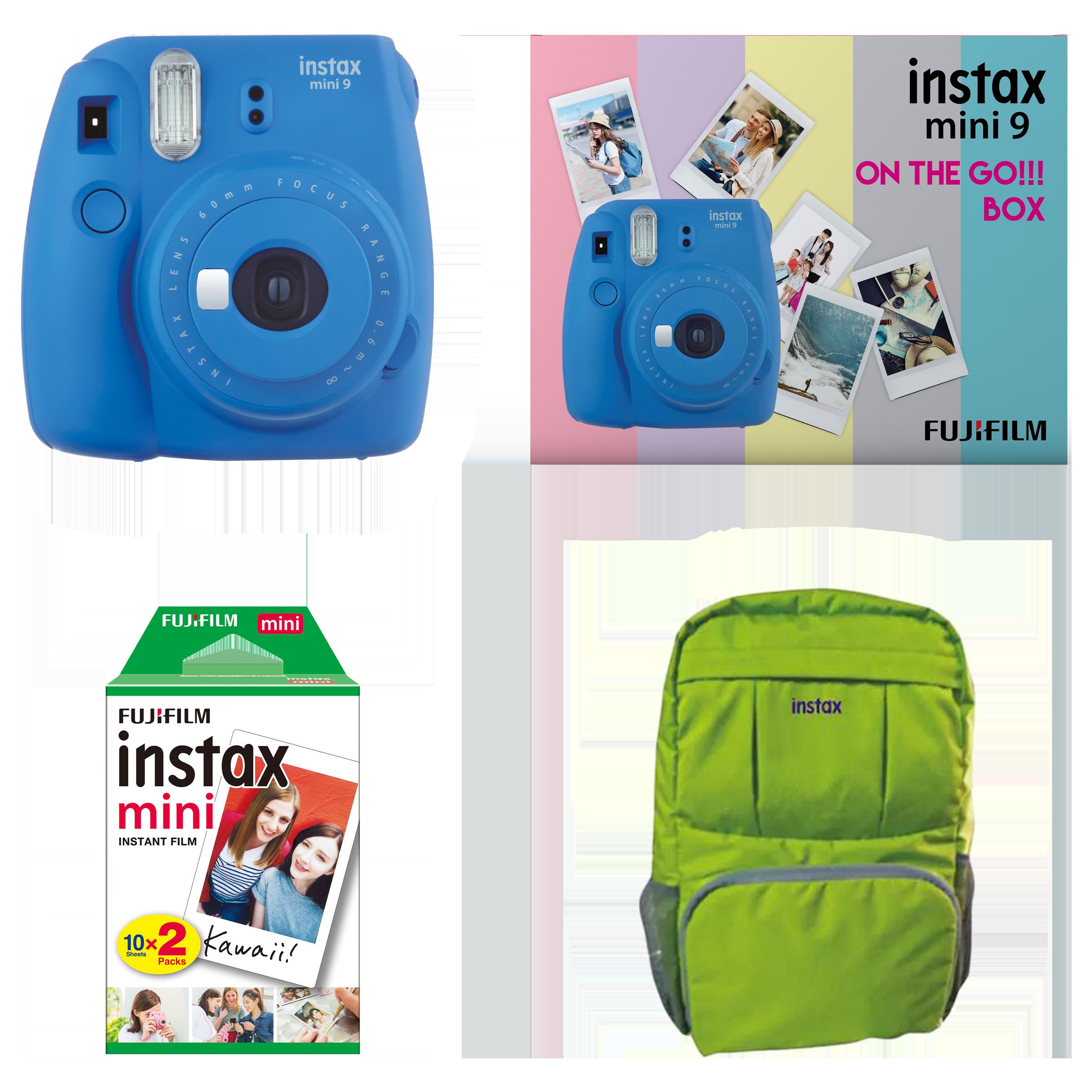 Fujifilm Instax Mini 9 On-The-Go Instant Camera Kit (Automatic Film Feeding Out, Cobalt Blue)_1