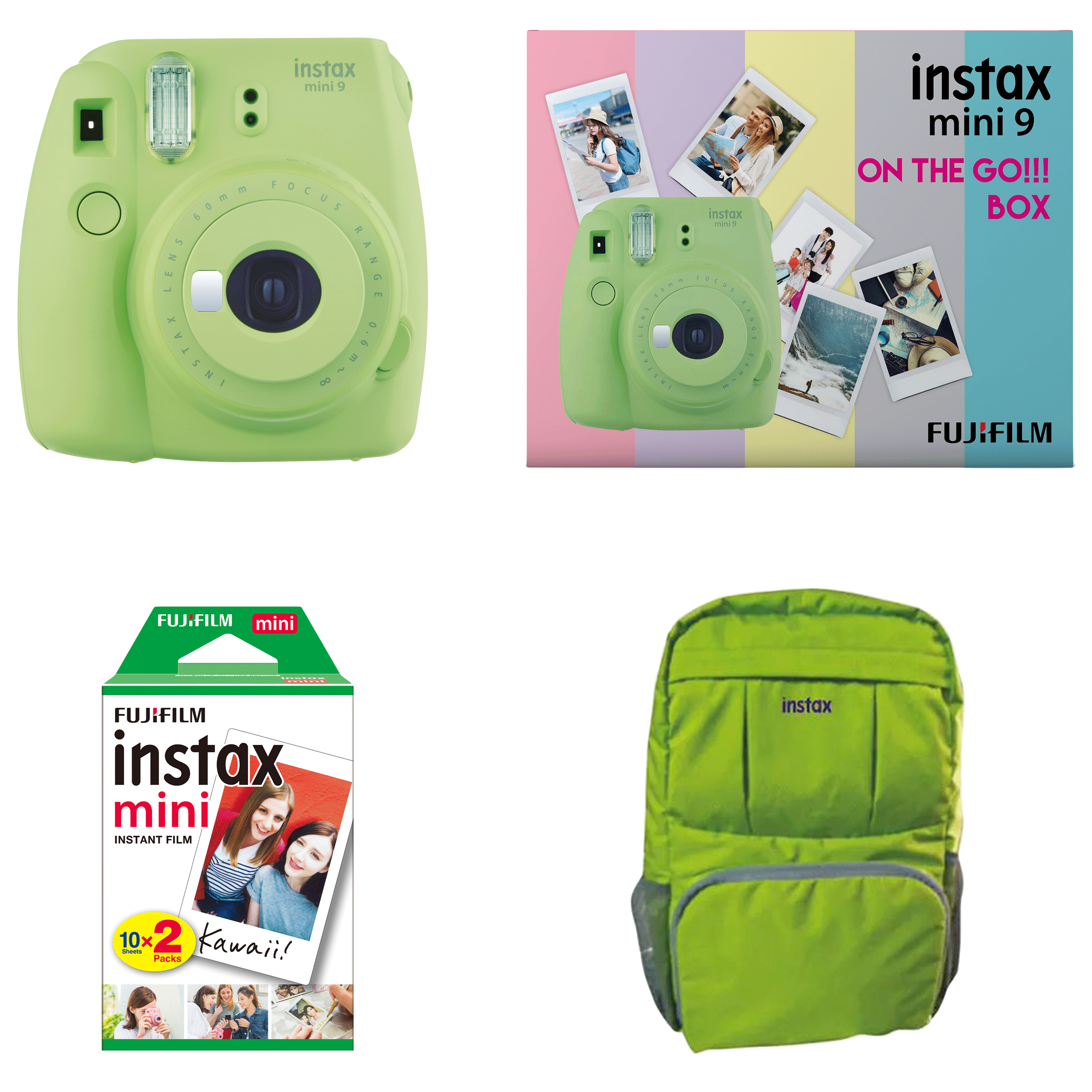 Fujifilm Instax Mini 9 On-The-Go Instant Camera Kit (Automatic Film Feeding Out, Lime Green)_1