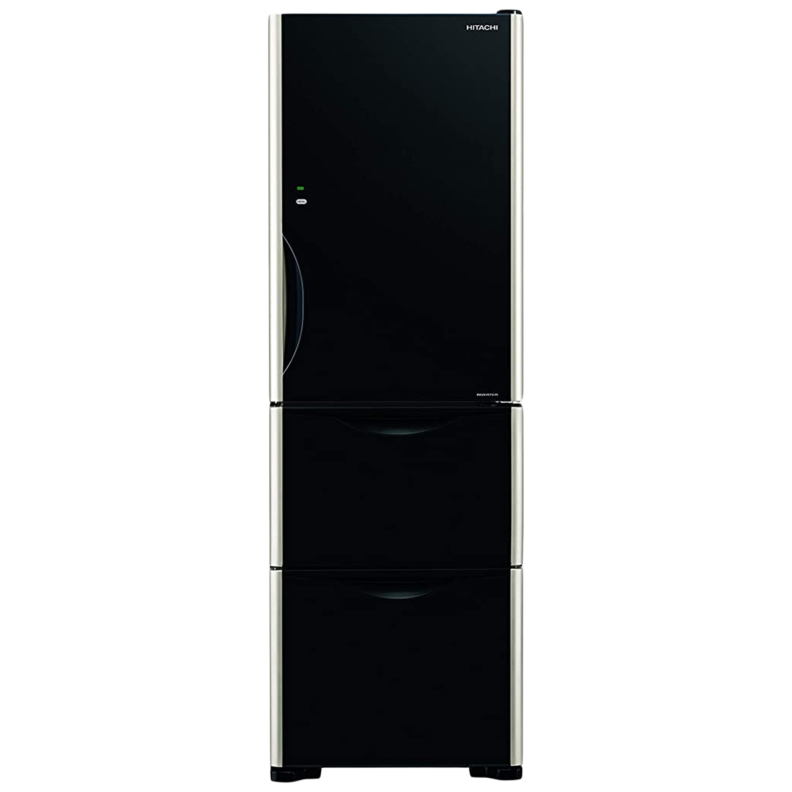 Hitachi Solfege Series 404 Litres Frost Free Inverter Triple Door Refrigerator (Quick Freezing, R-SG38KPND, Glass Black)_1