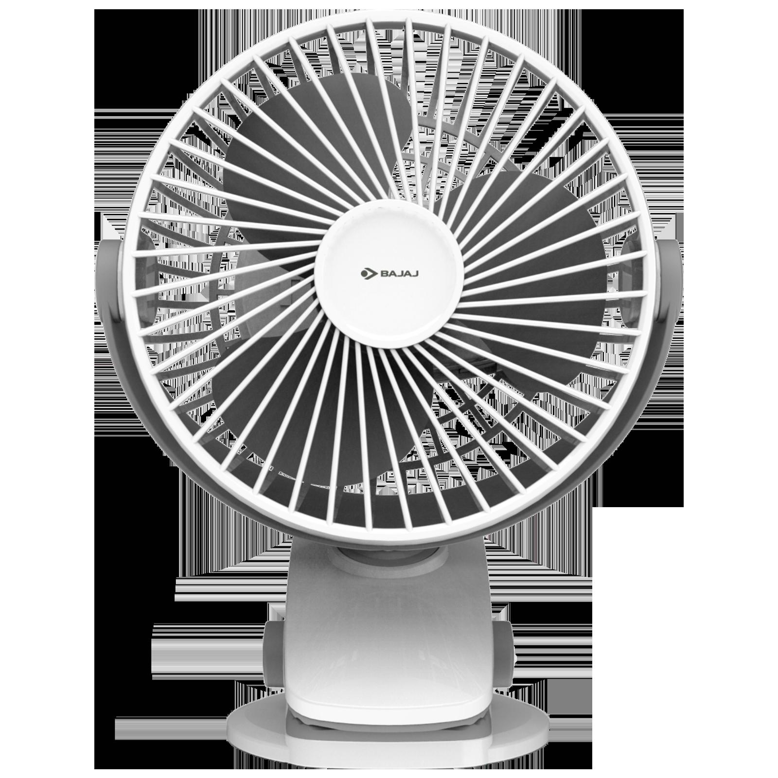 Bajaj Pygmy Mini 11cm Sweep 3 Blade Table Fan (USB Charging, 251268, White Smoke)_1