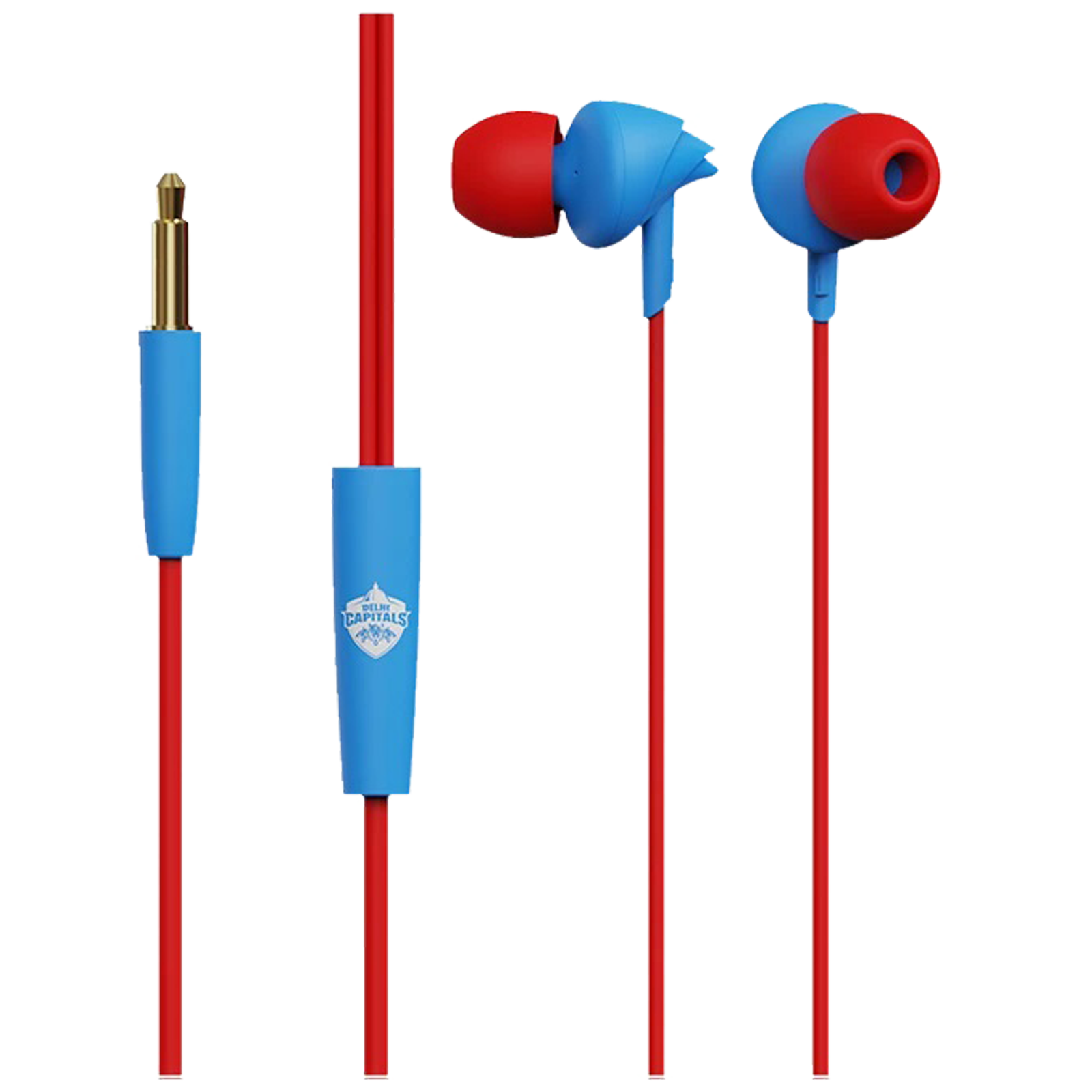 boAt BassHeads 100 Delhi Capitals Edition In-Ear Noise Isolation Wired Earphone with Mic (Single Press Voice Assistant, Blue)_1