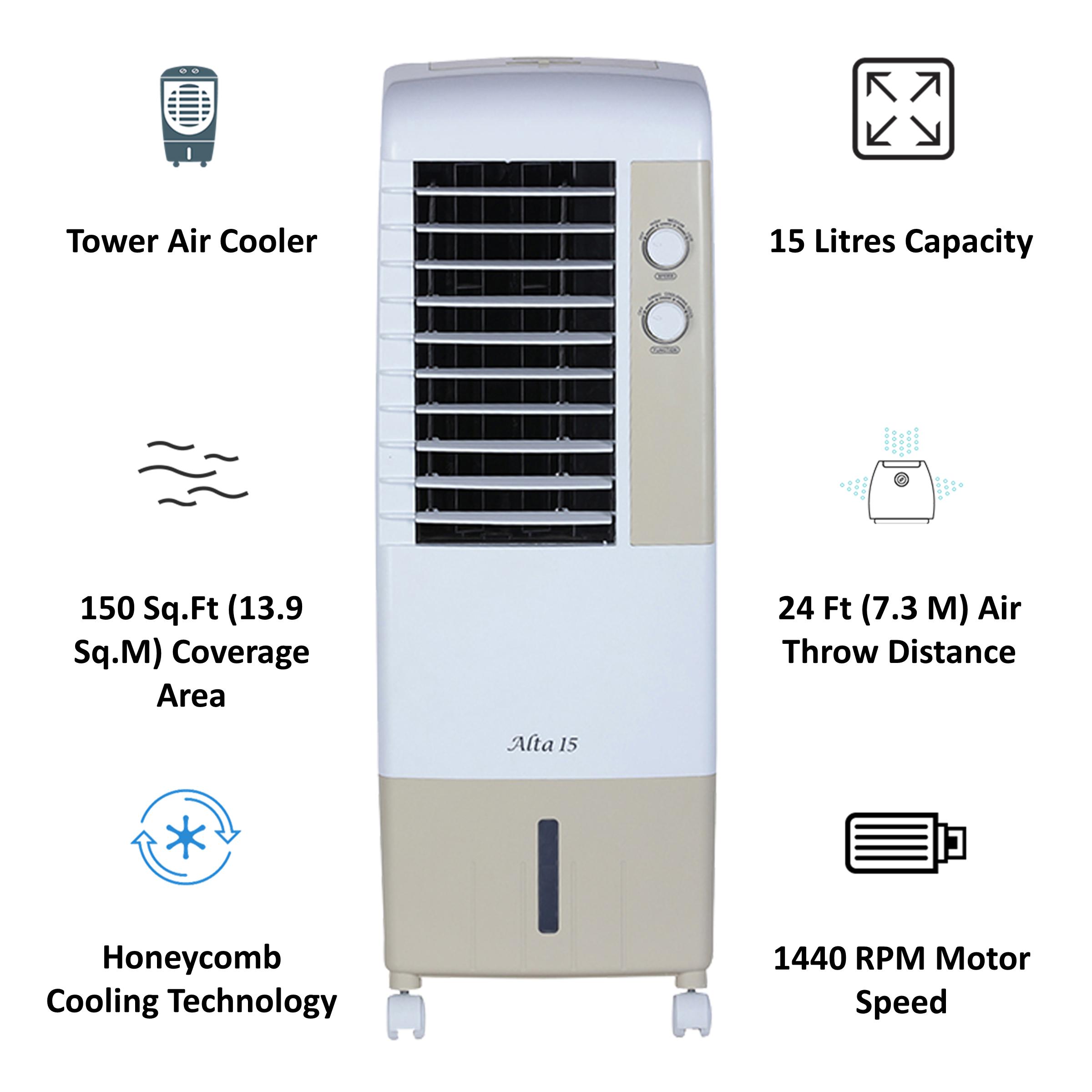 Kenstar Alta 15 Litres Tower Air Cooler (Inverter Compatible, KCLALTGY015BMH-ELM, Golden Yellow)_3