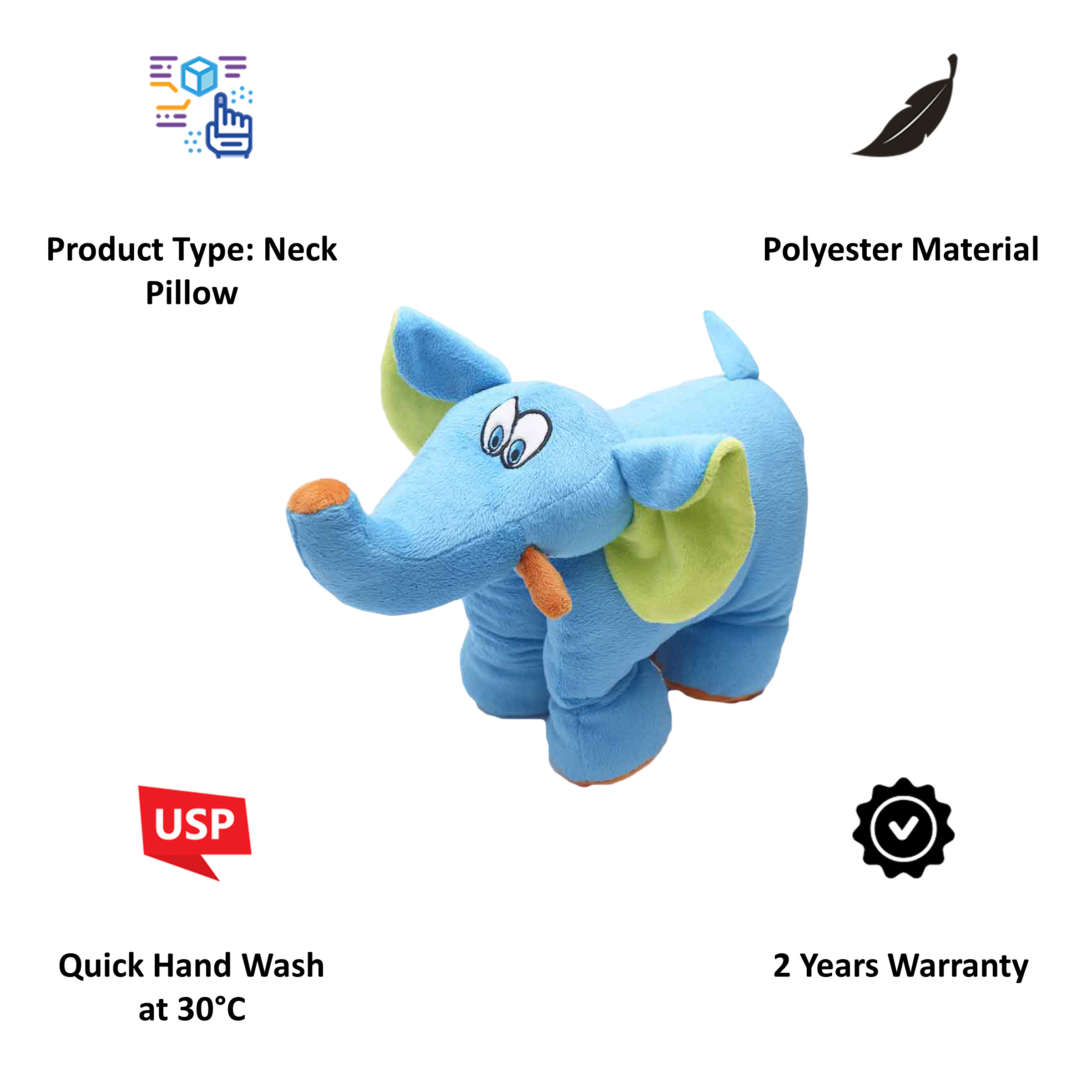 Travel Blue Trunky The Elephant Polyester Neck Pillow (Soft and Comfortable, Multicolor)_4