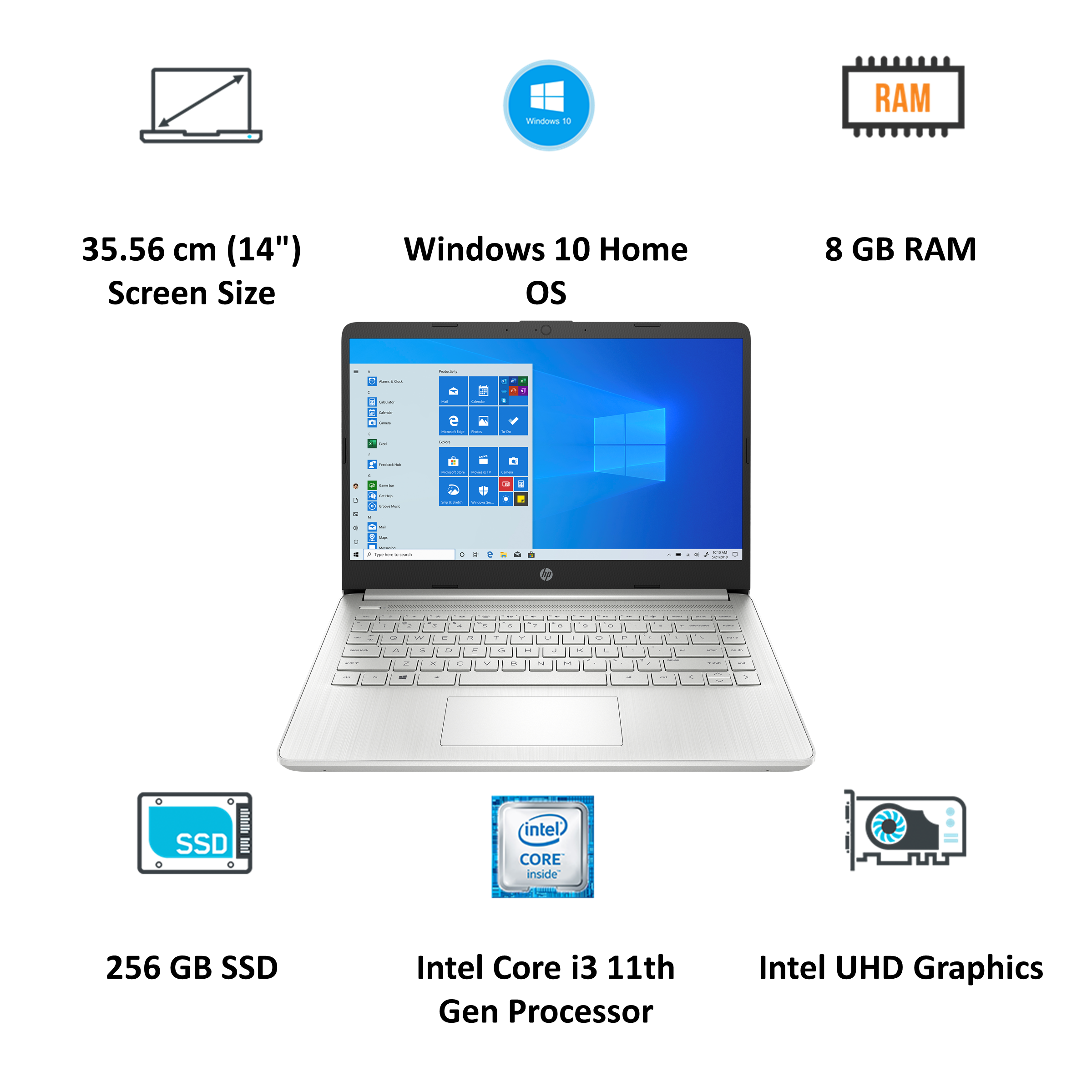 HP 14s-dq2101TU (38Z17PA#ACJ) Core i3 11th Gen Windows 10 Home Laptop (8GB RAM, 256GB SSD, Intel UHD Graphics, MS Office, 35.56cm, Natural Silver)_4