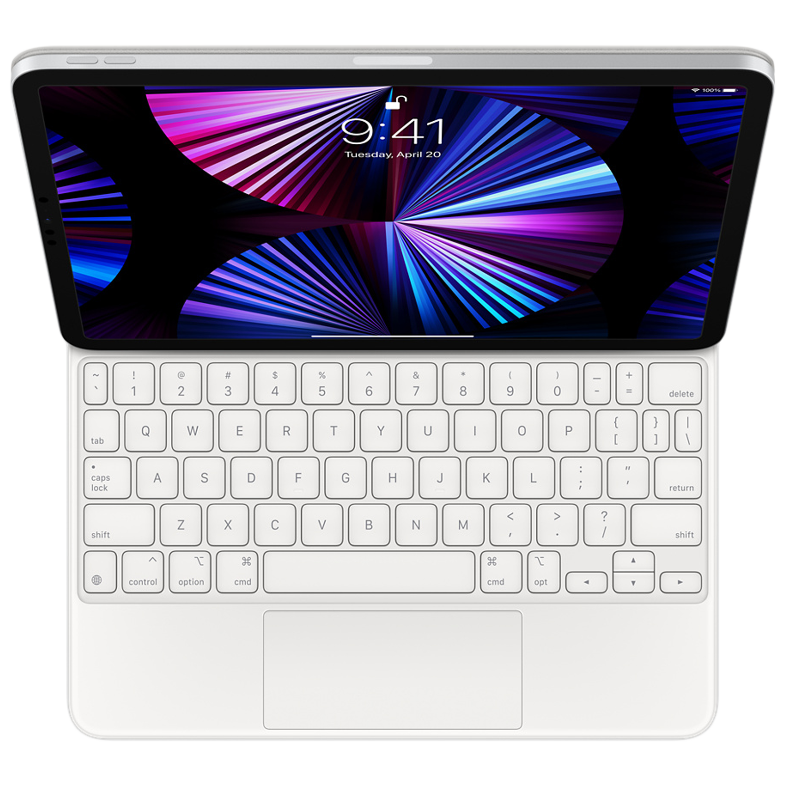 Apple Magic Wireless Keyboard For iPad Pro 11-Inch (1st, 2nd, 3rd Gen) and iPad Air (4th Gen) (Smooth Angle Adjustability, MJQJ3HN/A, White)_1