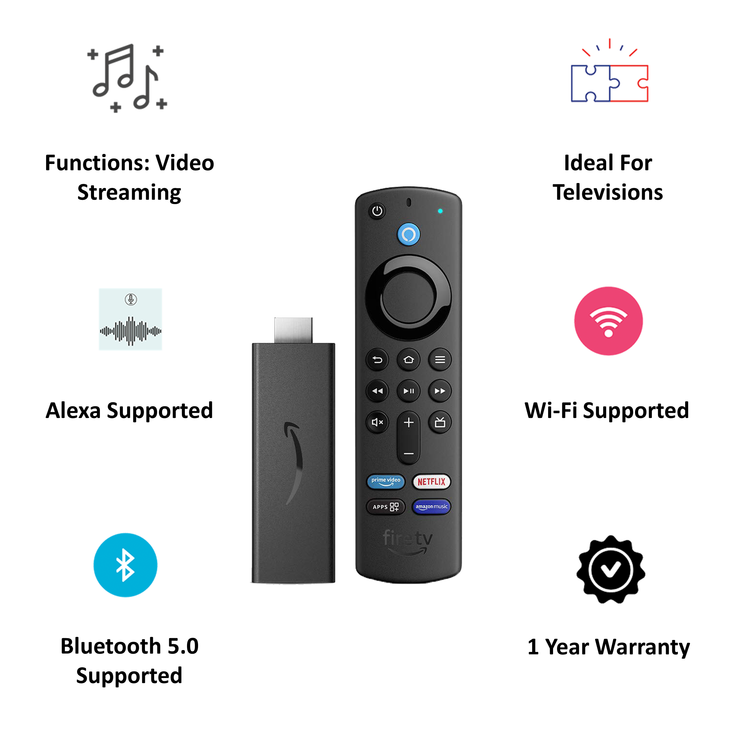 Amazon Fire TV Stick 3rd Gen with Alexa Voice Remote (Quad Core Processor, B08C1KQRR5, Black) 3