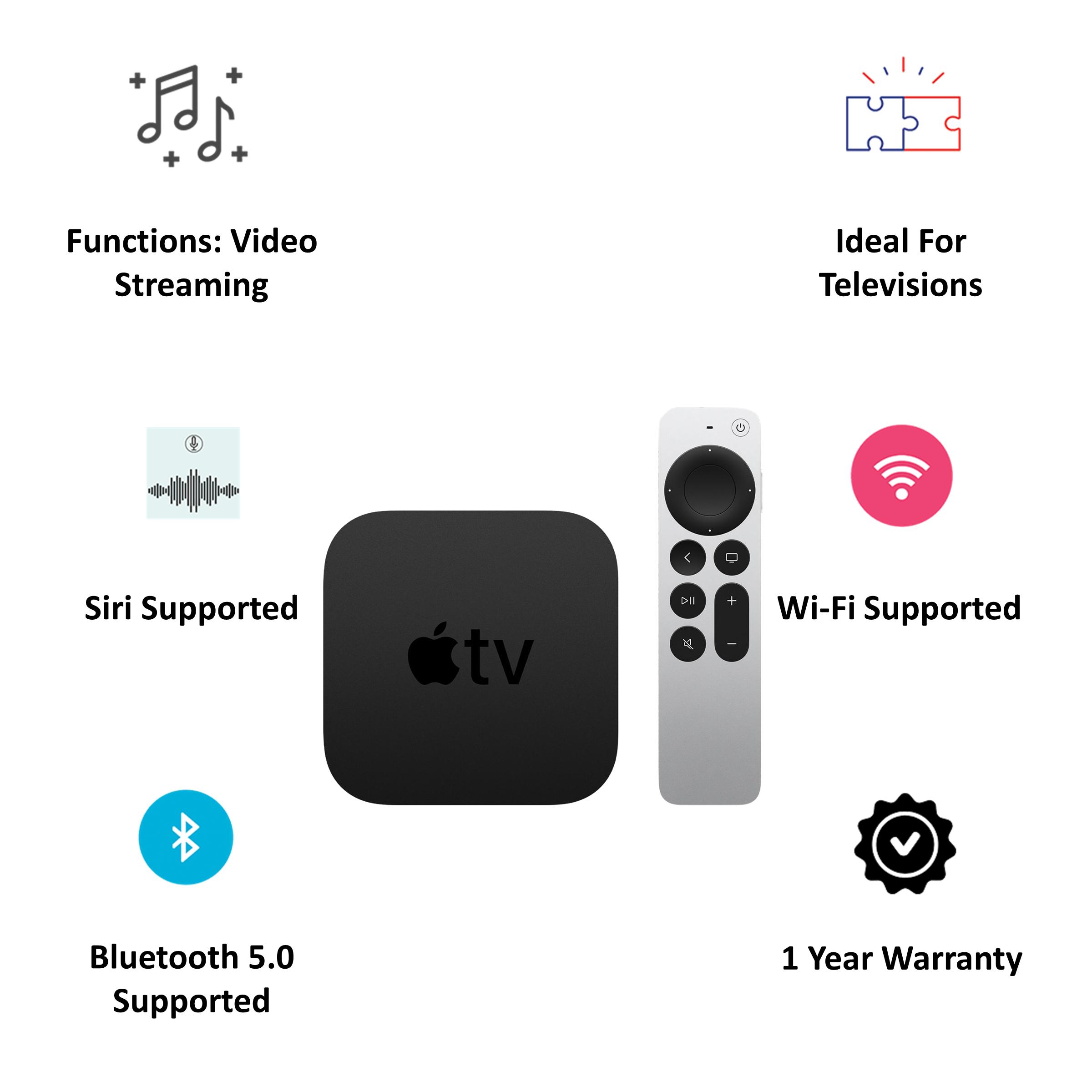 Apple TV 4K 32GB Media Streaming Box (IR Receiver, MXGY2HN/A, Black) 5