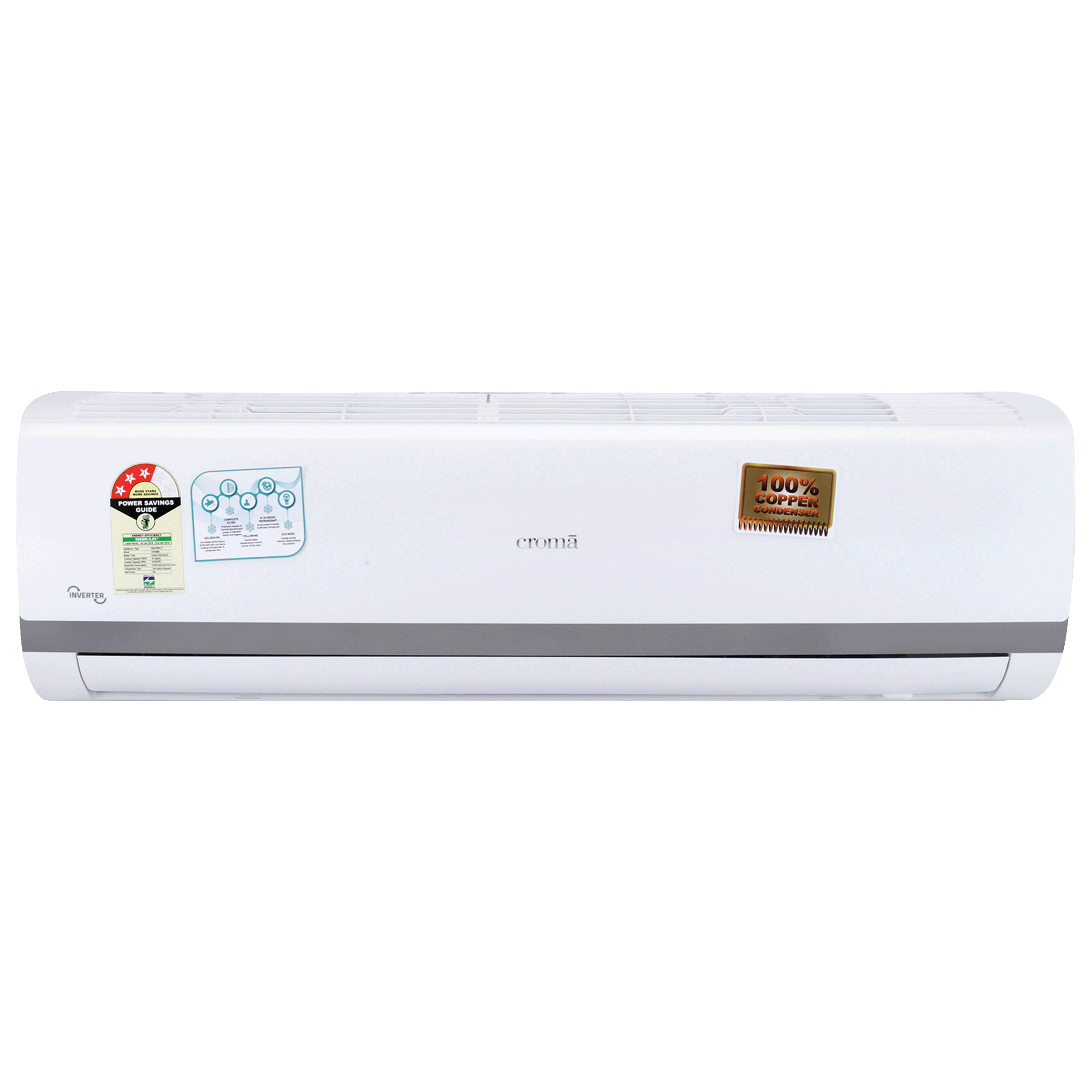 Croma 1.5 Ton 3 Star Inverter Split AC (Copper Condenser, CRAC7557, White/Grey Strip)_1