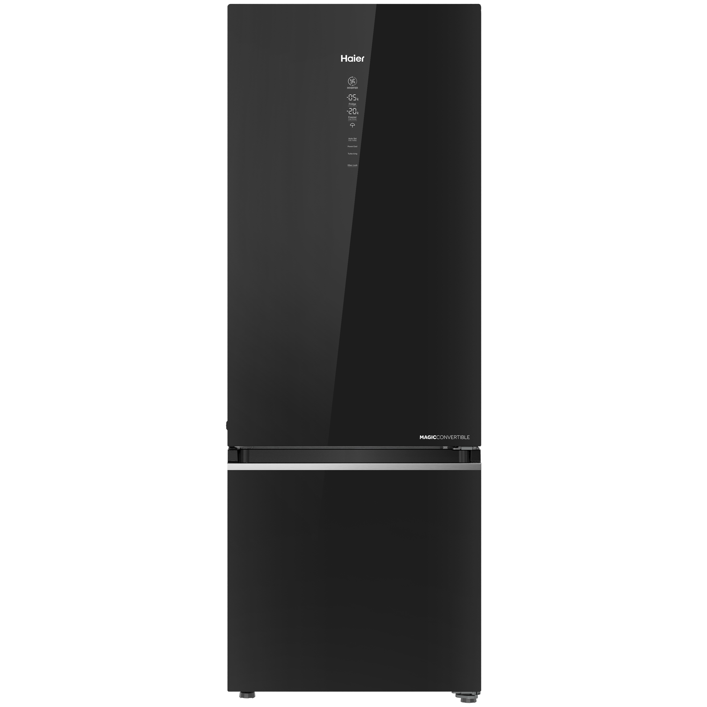 Haier Magic Convertible 376 Litres 3 Star Frost Free Triple Inverter Double Door Refrigerator (14-in-1 Convertible Mode, HRB-3964PKG-E, Black Glass)_1