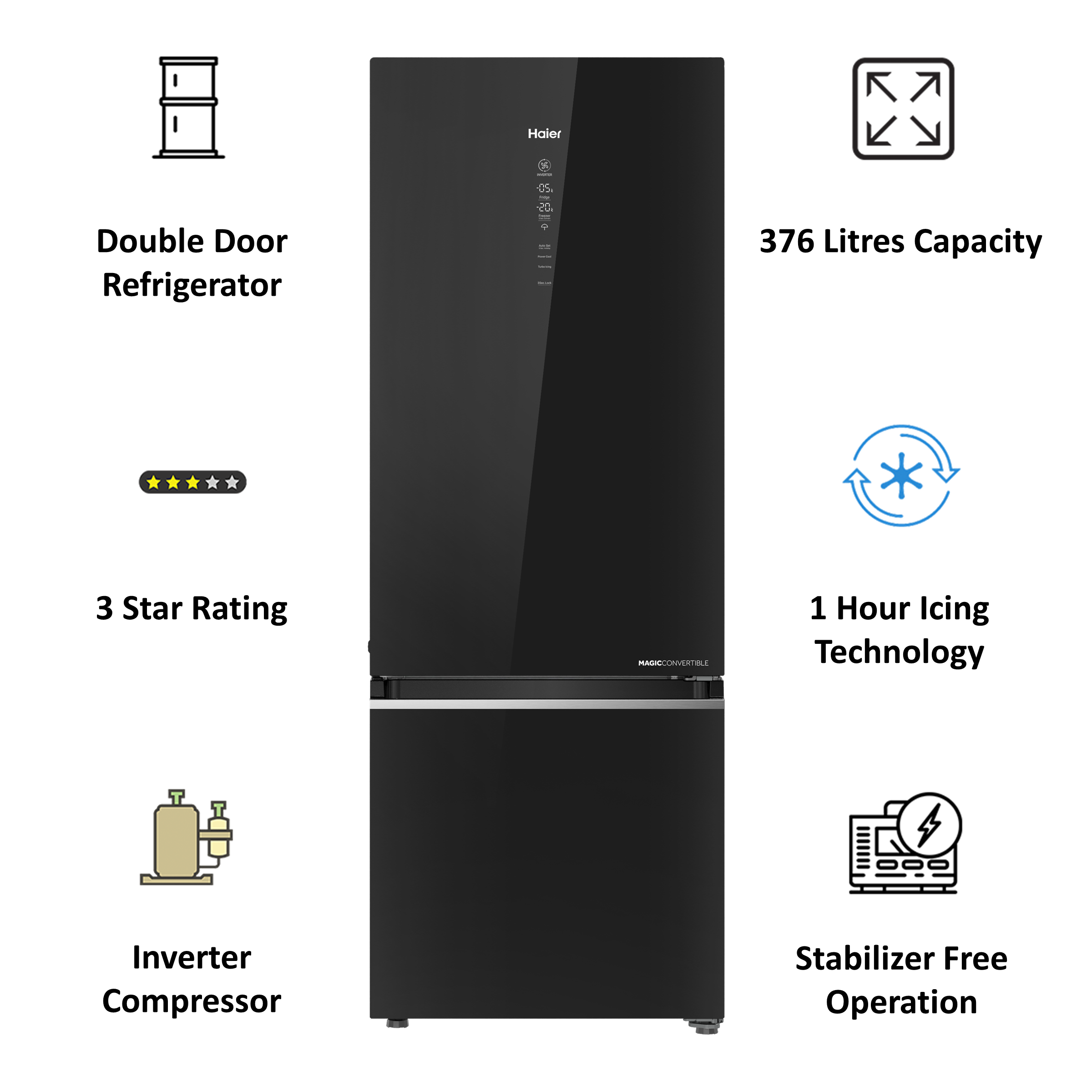 Haier Magic Convertible 376 Litres 3 Star Frost Free Triple Inverter Double Door Refrigerator (14-in-1 Convertible Mode, HRB-3964PKG-E, Black Glass)_4