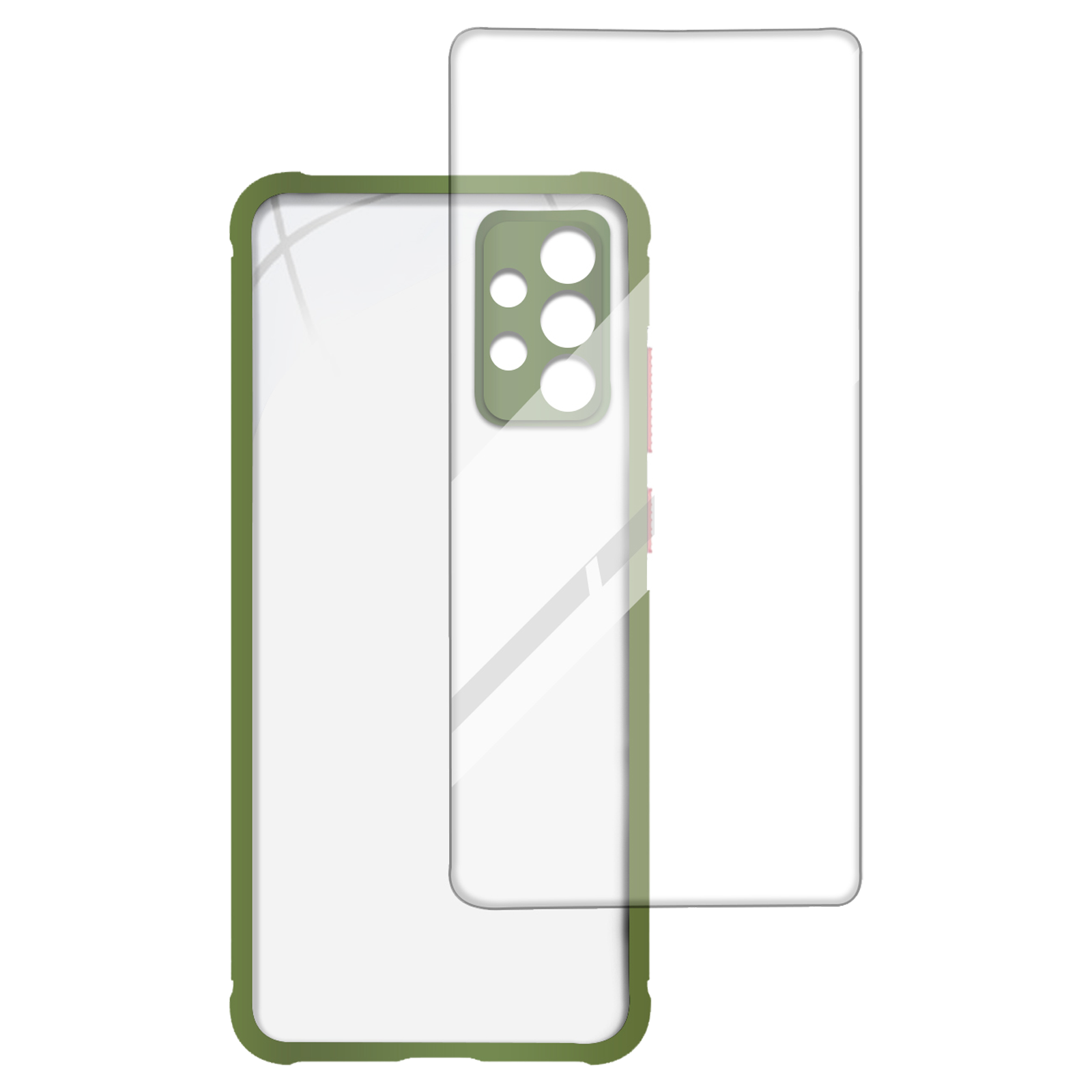 Arrow Hybrid Back Case and Screen Protector Bundle For Samsung Galaxy A72 (Ultra Transparent Visibility, AR-972, Light Green)_1